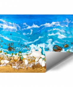 Wall mural decoration with stones - resin abstraction