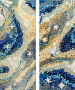 diptych picture with resin reproduction
