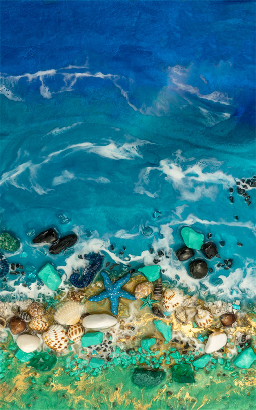 Wall mural with blue-green sea resin painting