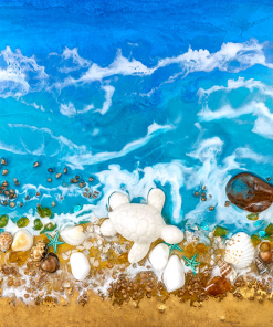 Resin wall mural with an abstract motif of the sea, resin sea