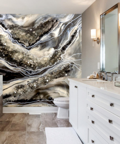Wall mural reproduction of a resin painting for a bathroom