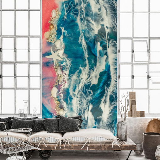 Wall mural for the living room - resin abstraction resin sea