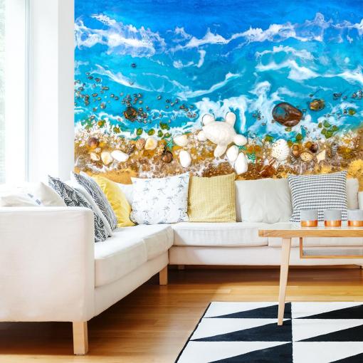Living room decoration photo wallpaper blue sea beach resin art