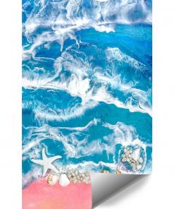 Wall mural resin sea blue-pink