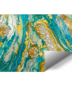 turquoise-gold abstraction wall mural