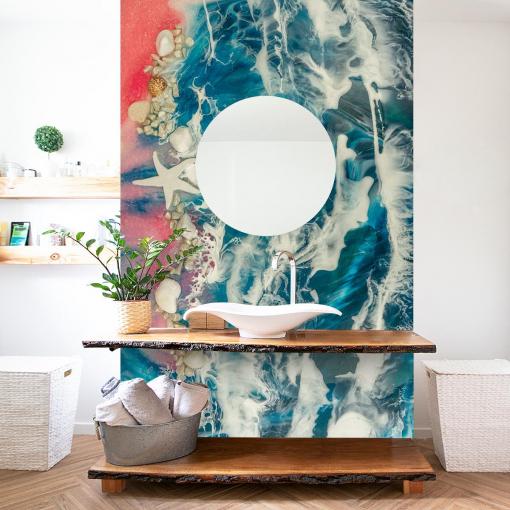 Arrangement for the bathroom wall mural resin art sea motif
