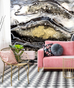 mural for the living room with abstract geode art