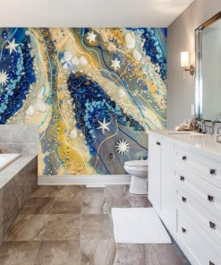 bathroom decorated with a photo wallpaper