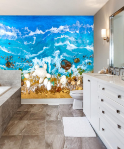 Wall mural for bathroom resin art sea blue waves