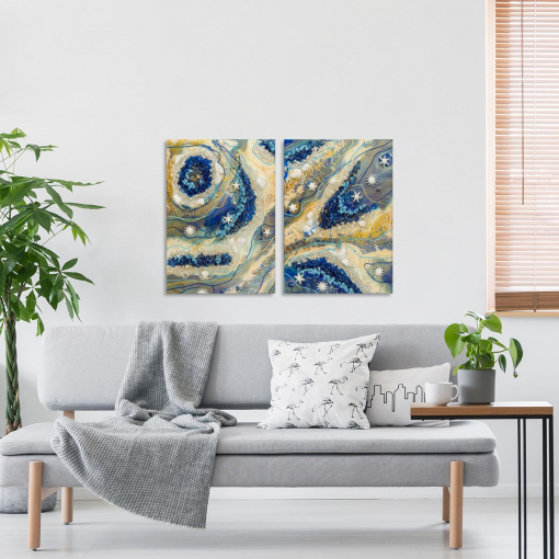 living room with wall decoration epoxy picture
