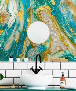 abstract bathroom wall mural with stones