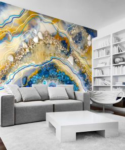 Living room decoration - wall mural with colorful abstraction