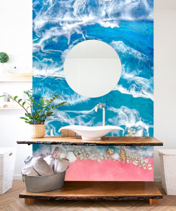 Wall mural reproduction of sea resin painting