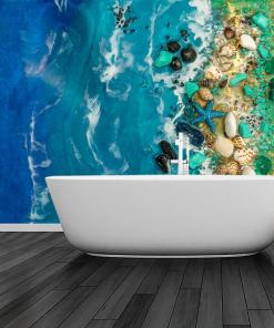 Bathroom inspiration - blue sea mural