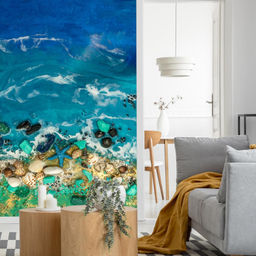 Sea and stones wall mural for the room