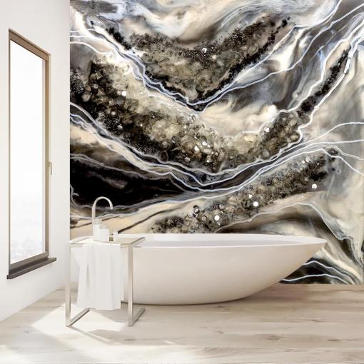 Abstract bathroom resin wall mural