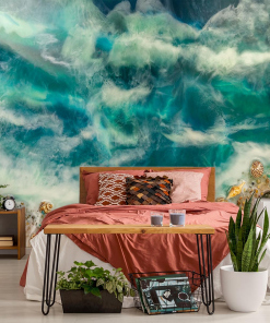 photo wallpaper in the bedroom reproduction of resin sea