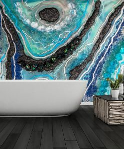 Abstract mural with an epoxy resin motif for the bathroom