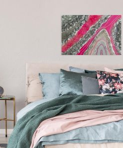 Resin art painting with pink abstraction