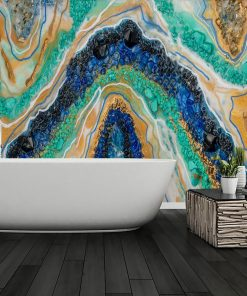 Wall mural with colored stones