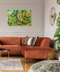 picture with an abstract motif for a yellow-green living room