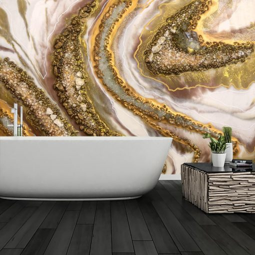 An abstract mural with stones and crystals