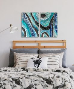 Double image with black and blue abstraction