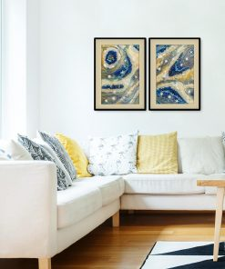 Diptych poster with blue stones for a living room