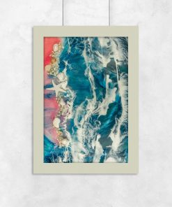 A resin art poster with a sea and pink beach theme