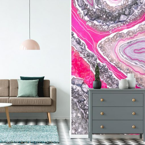Wall mural with pink crystals for the living room