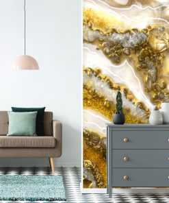 White and gold wall mural - GEODE
