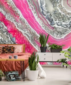 A resin art mural with pink abstraction for a bedroom
