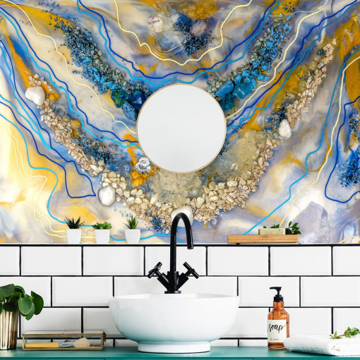 Resin art wall mural with blue-orange abstraction