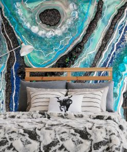 An abstract mural with an epoxy resin motif