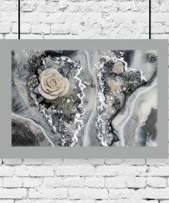 A poster with a rose and stones pattern