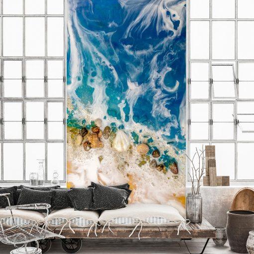 Resin sea mural for the living room