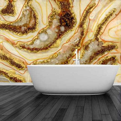mural for the bathroom painting reproduction resin abstract with golden smudges
