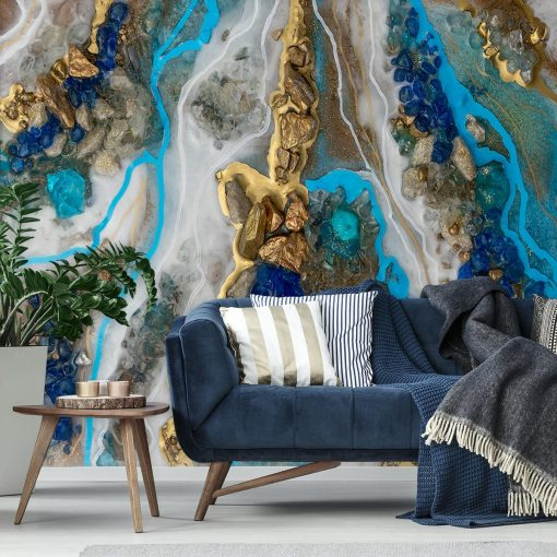 Resin art wall mural - Blue and gold abstraction
