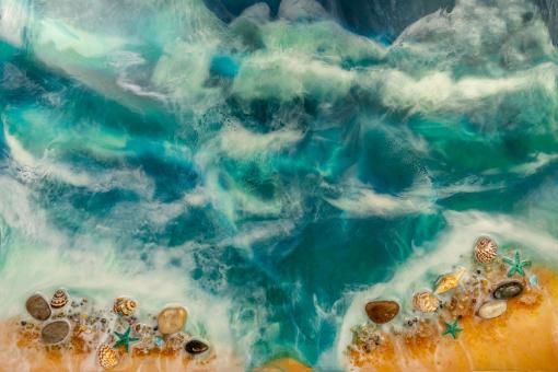 resin mural reproduction of resin sea