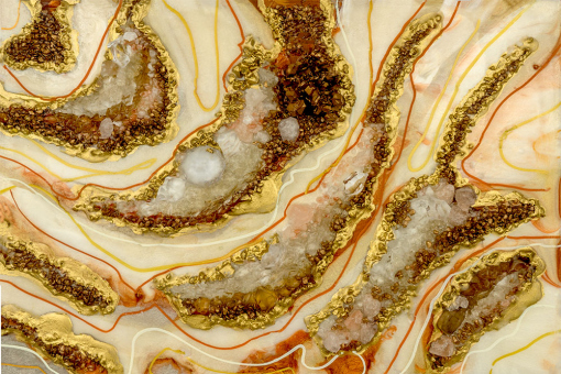 wall mural resin art reproduction with abstraction and orange-beige stones