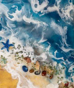Geode art mural with seashells pattern
