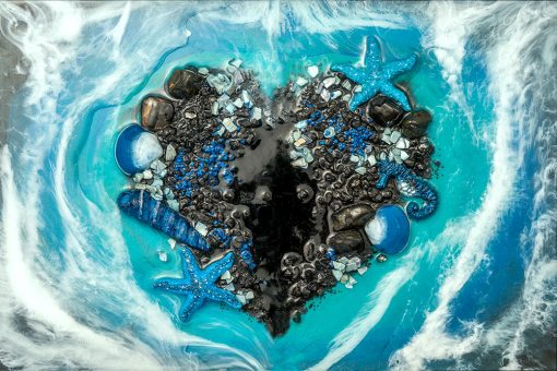 Wall Mural - Black heart of pebbles