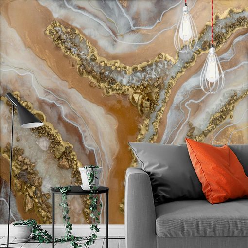 Wall mural depicting abstractions with stones