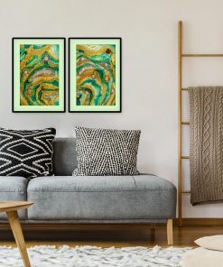 Double poster with green abstraction