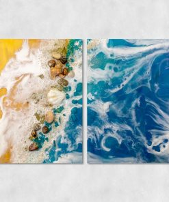Picture of a diptych with a beach and seashells