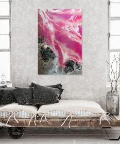 Picture with a pink sea theme