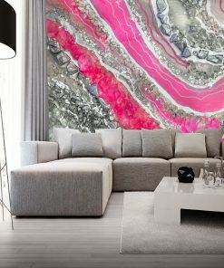 photo wallpaper with abstraction in silver for the living room