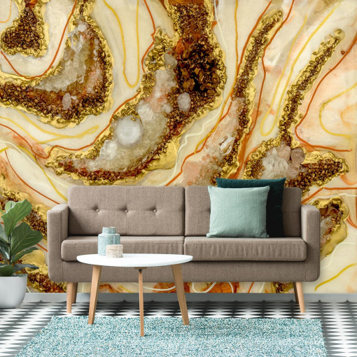 wall mural for the living room abstraction resin painting gold