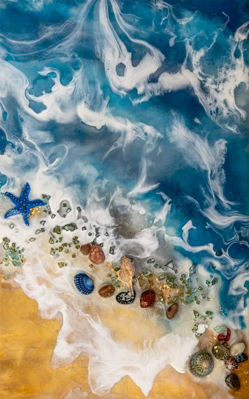 Wall mural with seashells