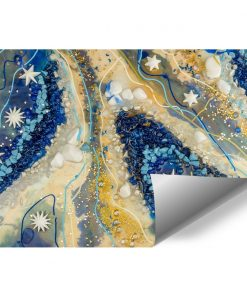 Geode art mural with blue pebbles for the living room